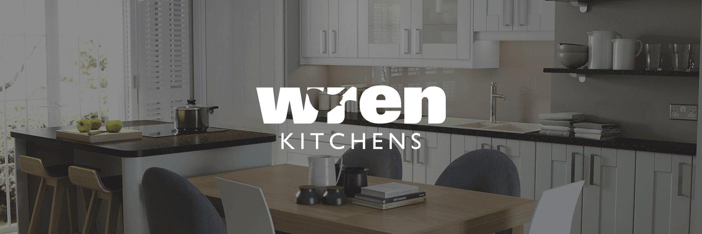 Wren Kitchens Logo with Kitchen Background