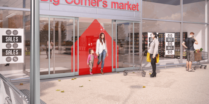 woman and child leaving store